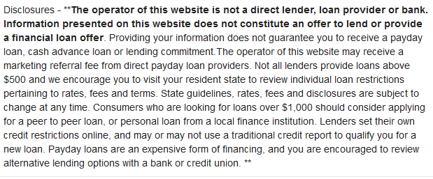 online loan disclosures